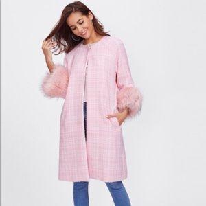 Pink faux fur tweed coat